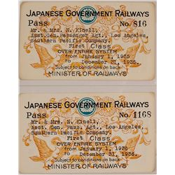 Two Japanese Government Railways Passes