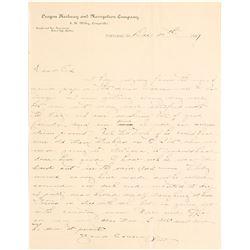 1887 Oregon Railway & Navigation Company Letter