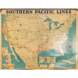 US Southern Pacific Railroad Wall Map, 1952