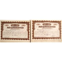 100 Anglo-California Trust Co. of San Francisco Stock Certs.
