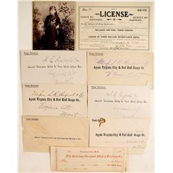 Montana Paper: Cabinet Card, Gold Dust Receipt, Pool Hall License, Stagecoach Letters and Envelopes