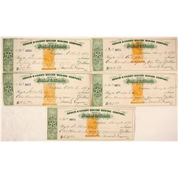 Five Green Nevada Revenue Imprinted Mining Checks, Virginia City, Nevada
