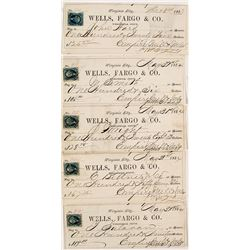 Five Wells Fargo, Virginia City, Nevada Territory Checks