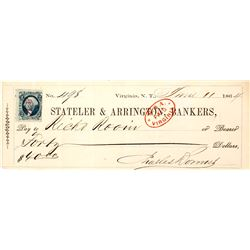 Stateler & Arrington Bankers Check with Bonner Signature, Virginia City, Nevada Territory