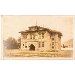 Real Photo Postcard of Springville, Utah High School