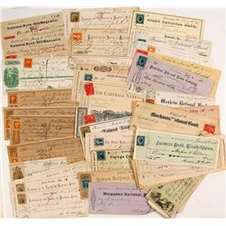 US Check Collection w/ Adhesive Revenue Stamps