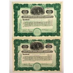 West United Verde Copper Company Certificates