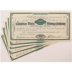 Calaveras Water and Mining Company Stock Certificates (5)