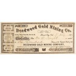 Deadwood Gold Mining Co. Stock, 1879, Nevada County, CA