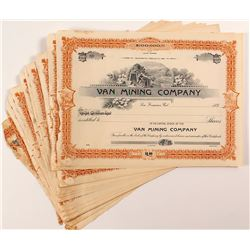31 Van Mining Company Stock Certificates
