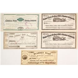 California c. 1870's-1881 Stocks (5)
