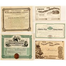 Five California Stock Certificates - Take a Look!!!