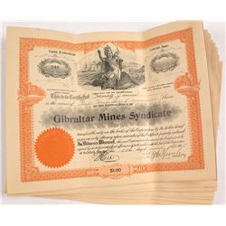 19 Gibraltar Mines Syndicate Stock Certificates, 1905