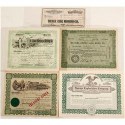 Five Nevada Stock Certificates