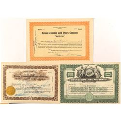 Nevada Mining Stock Certificates
