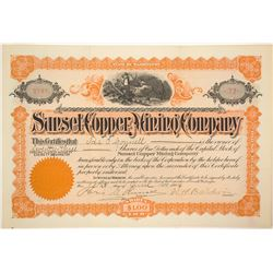 Sunset Copper Mining Company Stock Certificate, 1904, Snohomish County, WA