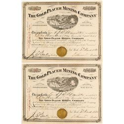 Pair of The Gold Placer Mining Co. Stock Certificates