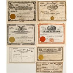 Seven Different Mining Stock Certificates