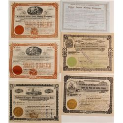Six Different Western Mining Stock Certificates