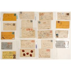 Fabulous set of Foreign Postal History all Sent to the Same Person (Tombstone, Virginia CIty Nevada,