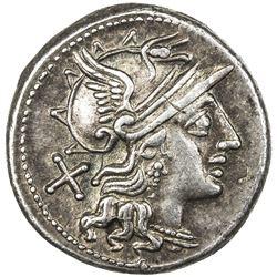 ROMAN REPUBLIC: Safra, 150 BC, AR denarius (4.08g). EF