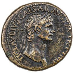 ROMAN EMPIRE: Claudius, 41-54 AD, AE sestertius (29.85g), Rome. F