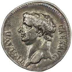 ROMAN EMPIRE: Claudius, 41-54 AD, AR cistophoric tetradrachm (11.25g), Ephesus. VF