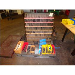 Drill Bit Cabinet with Contents and Misc Drills on Skid - Dimensions 35 x 18 x 37