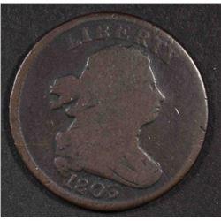 1803 DRAPED BUST HALF CENT, GOOD+