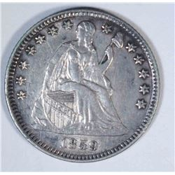 1859 SEATED HALF DIME, AU+
