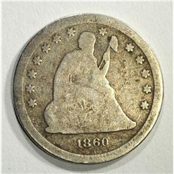 1860-S SEATED LIBERTY QUARTER, AG/G VERY RARE!!!