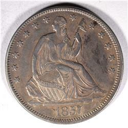 1857 SEATED LIBERTY HALF DOLLAR, AU