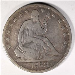 1858 SEATED HALF DOLLAR, VG