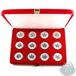 Lot of 12x 2004 Canada Zodiac Signs Privy Maple Leafs in Red Felt Display Case. All coins come encap