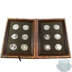1977 Franklin Mint Good Luck Medal Collection Limited Edition Proofs Sterling Silver 12-Coin Set in