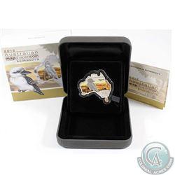 2012 Australia $1 Kookaburra Map Shaped Fine Silver Proof Coin (TAX Exempt)