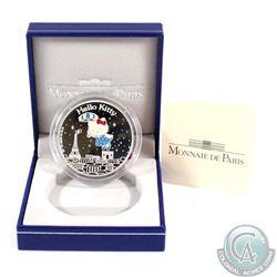 "2005 Paris Mint 1.50 Euro Hello Kitty Commemorative .900 Silver ""Kitty Flies Over Paris"" Coin."