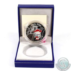 """2005 Paris Mint 1.50 Euro Hello Kitty Commemorative .900 Silver """"Kitty and Poodle at a Cafe"""" Coin."""