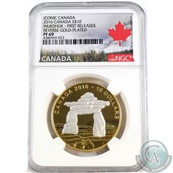 2016 Canada $10 Iconic Inukshuk Reverse Gold-Plated NGC Certified PF-69 First Releases (TAX Exempt)