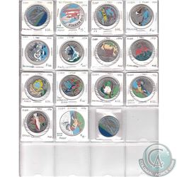 Estate Lot of 1981-1996 Cuba 1 Peso & 10 Peso Coins. 15 of the coins are beautifully coloured and th