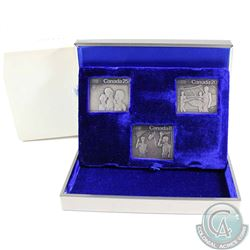"""1976 Canada Montreal Olympics 3-coin Sterling Silver Stamp Shaped Set. The """"Canada 8"""" stamp is scuff"""