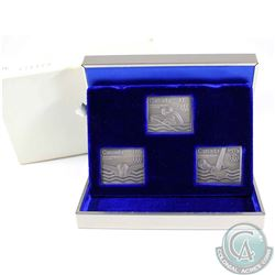 1976 Canada Montreal Olympics 3-coin Sterling Silver Stamp Shaped Set. Contains 1.5oz of Pure Silver