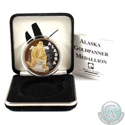 Alaska Goldpanner 1oz .999 Fine Silver with Gold Plating and Genuine Gold Nugget Medallion made by t