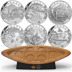 2015 $10 Canoe Across Canada Fine Silver 6-Coin Set & Canoe Shaped Box (coin capsules are scratched)