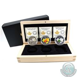 2014 Canada $20 Majestic Maple Leaf 3-coin Fine Silver Set in Deluxe Wooden Display Case. You will r