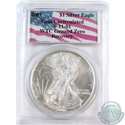 2001 USA $1 WTC Ground Zero Recovery Silver Eagle PCGS Gem Uncirculated (TAX Exempt)