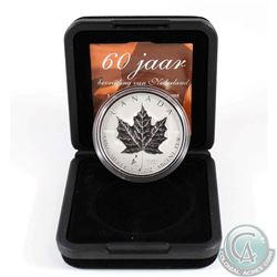 2005 Canada Netherlands Tulip Privy Mark 1oz. Silver Maple Leaf in Original Black Display Box with C