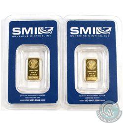 2x Sunshine Minting, Inc. .9999 Fine Gold 1g Bars Sealed. 2pcs (TAX Exempt)
