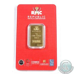 Republic Metals Corporation 5g .9999 Fine Gold Bar Sealed (TAX Exempt)