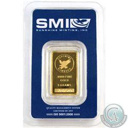 Sunshine Minting, Inc. 5g .9999 Fine Gold Bar Sealed (TAX Exempt)